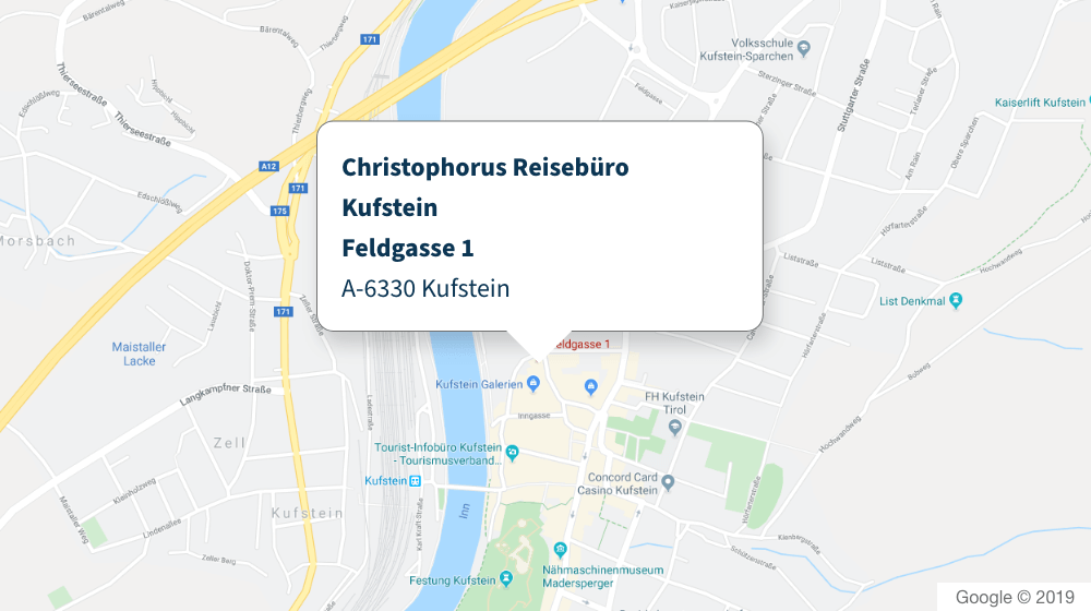 Christophorus Reisebüro Kufstein Karte