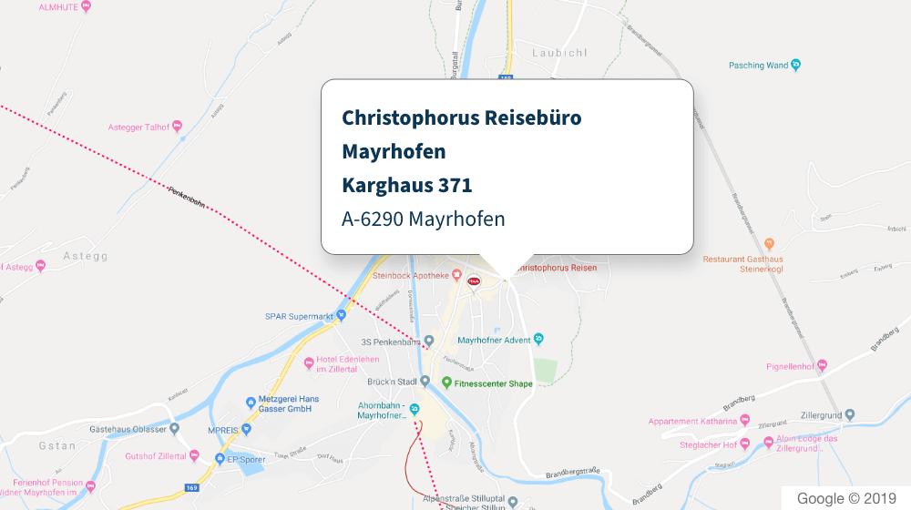 Christophorus Reisebüro Mayrhofen Karte