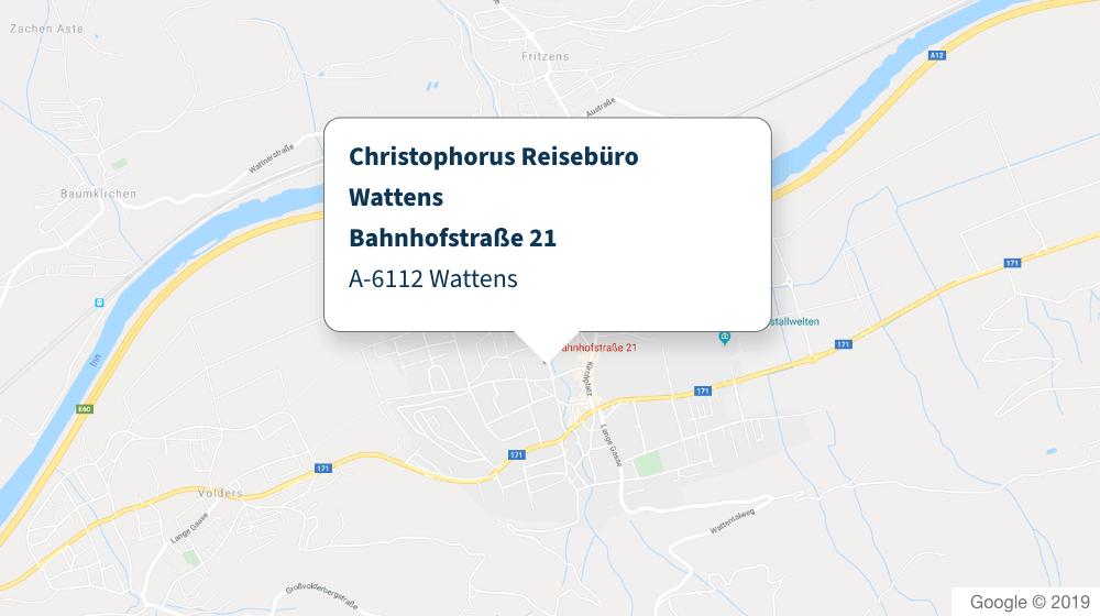Christophorus Reisebüro Wattens Karte